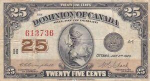 #Dominion of Canada 25 Cents 1923 P-10 AF Britannia