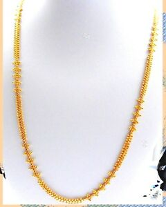 Real looking 22 ct gold plated  fine set - Indian Ethnic Style CHAIN long 28 IN