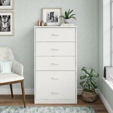 5-Drawer White Finish Dresser Home Living Room Storage Organizer Furniture Set