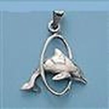 DOLPHIN PENDANT STERLING SILVER WITH HOOP NEW
