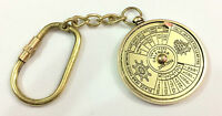 Vintage Nautical 50 Years Perpetual Calendar Keychain Brass Keychain Key Ring