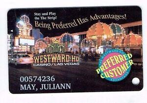 WESTWARD HO Casino Las Vegas SLOT CARD Players Club Card - Strip View / Lights