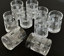 Ralph Lauren CRYSTAL Old Fashion GLASS Barware GLEN PLAID Whiskey Highball x9