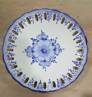Vestal Alcobaca Hand Painted Blue & White Open Work Plate made in Portugal