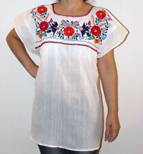 White Peasant Boho 100% Gauze Cotton Mexican Embroidered Blouse Top Medium