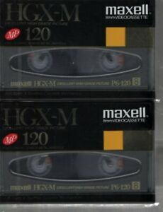 Maxell HGX-M MP120 8mm VIDEO CASSETTE 2 tape lot NEW SEALED FREE SHIPPING