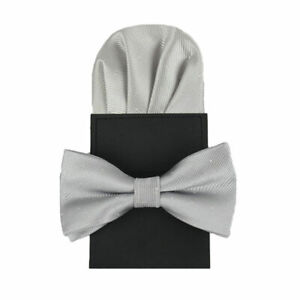 Men Classic Polka Dots Bow Ties Pocket Square Set Bowtie Pre-Folded Handkerchief