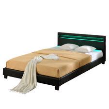 Design LED Doppelbett Polsterbett 160x200cm Bettgestell bett schwarz Bettrahmen