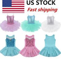 US Stock! Girl Kids Ballet Tutu Dress Gymnastics Leotard Ballerina Dance Costume
