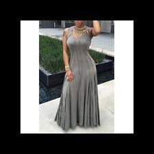 Ladies XXL 2XL Gray Long Sleeveless Summer Party Event Maxi Dress! NEW