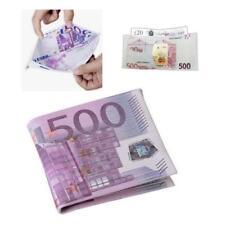 500 EURO BILL NOVELTY WALLET Printed Slim Canvas Billfold Five Hundred Money