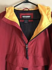 Abercrombie Performance Windbreaker Jacket Maroon And Yellow Men's Size Large
