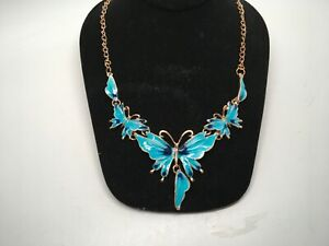 BEAUTIFUL! Gold Tone Blue & Cobalt Enamel BUTTERFLY Statement Necklace