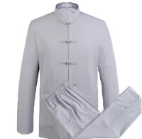 Mens Chinese Traditional Long Sleeve Pure Color Cotton & Linen Kung Fu Tang Suit