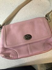 Authentic Coach purse pink with white handle