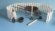 Miniature Wheelbarrow Fence Garden Tools & more Fairy Garden starter set  7 pc
