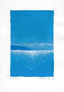 original painting A4 254MA art samovar modern gouache landscape sea seascape