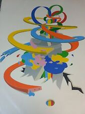 """Werner Pfeiffer """"DOWNWARD"""" Signed Color Serigraph Print Unframed 14.25""""  11.25"""""""