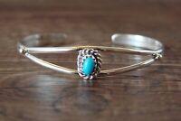 Childs Navajo Indian Sterling Silver Turquoise Bracelet Elton Cadman