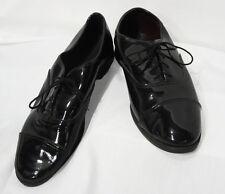 Size 9 Wide Mens Black Cap Toe Lace Up Oxfords Tuxedo Shoe Formal Wedding Prom