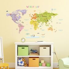 Buy world map wall stickers ebay decowall colourful world map nursery kids removable wall stickers dmt 1306n gumiabroncs Gallery