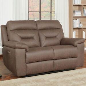 Kuka Justin Brown Fabric Power Reclining 2 Seater Sofa