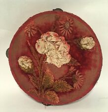 Antique Vintage Tambourine With Cloth Embroidery Folk Art Handmade