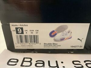 Puma Double Disc White Ultra Violet Size 9 10 NEW 194277-01