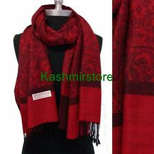 New Pashmina Paisley Floral Silk Wool Scarf Wrap Shawl Soft Classic Red/black