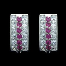 2CT Princess Round Ruby Red Created Diamond Huggie Earrings 14K White Gold