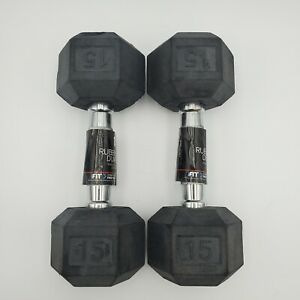 Weider 15lb Rubber Coated Hex Dumbells Pair Total 30lbs Weight Lifting Exercise