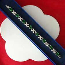 "Beautiful Chrome Diapposite 18K White Gold Plated Bracelet 14 Gr. 7"" Inc. Long"