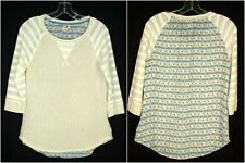 One September Anthropologie Patchwork Sweater Blue Striped sz S 3/4 Sleeve