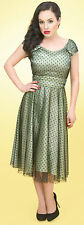 STOP STARING! Green Satin Pin Up Swing Cocktail Dot Dress Tulle Overlay Sz S NEW