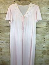 Vintage LOV LEE Pink Nightgown Eyelet trim Nylon  no size see desc for measuremt