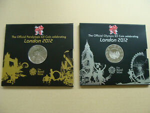 London 2012 £5 Coin x 2 Royal Mint Official Paralympic and Olympic B Unc