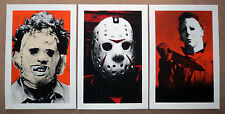 Lot of 3 silkscreen horror prints Halloween Friday 13th Texas Chainsaw Massacre