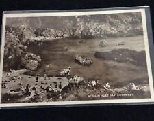 RPPC 1958 Bathers on the Beach Moulin Huet Bay Guernsey August 1958 Queen Stamp
