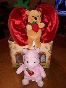 NWT RARE Vintage Winnie the Pooh Strawberry Plush - Disney Bean Bag Lot of 2