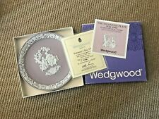 """1982 Wedgwood White on Lilac Jasper Valentine Plate 6.5"""" Box Papers #3796/20,000"""