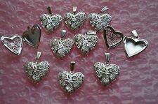 Reino Unido de joyería 1 X Hermoso De Filigrana Colgante De Plata Corazón Foto Collar Relicario