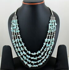 NECKLACE NATURAL BLUE LARIMAR CHIPS BEADED GEMSTONE BEAUTIFUL CHARMING 67 GRAMS