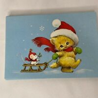 12 Vintage Christmas Greeting Cards Cat Lover Mouse Sled Kitten Kitty