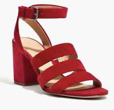 MADEWELL Maria Sandal Heels Red Suede Strappy 9.5
