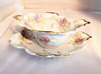 Antique Elite Limoges France 1896-1900 Porcelain Leaf Handled Bowl and Saucer