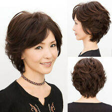 Womens Lady Short Curly Wavy Hand Weave Full Wig Natural Hair Black Brown Wig
