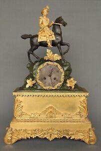 Grande Pendule Bronze Doré  Patiné Cavalier sur Cheval Kaminuhr Uhr Empire