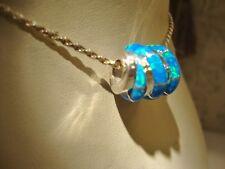 EUROPEAN BRACELET or PENDANT Swizzle Blue Bright FIRE OPAL Bead Sterling silver