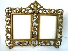 Vintage Ornate Brass Double Picture Stand