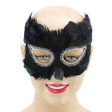 FEATHER BLACK / WHITE EYE MASK ADULT FANCY DRESS MASQUERADE PARTY ACCESSORY